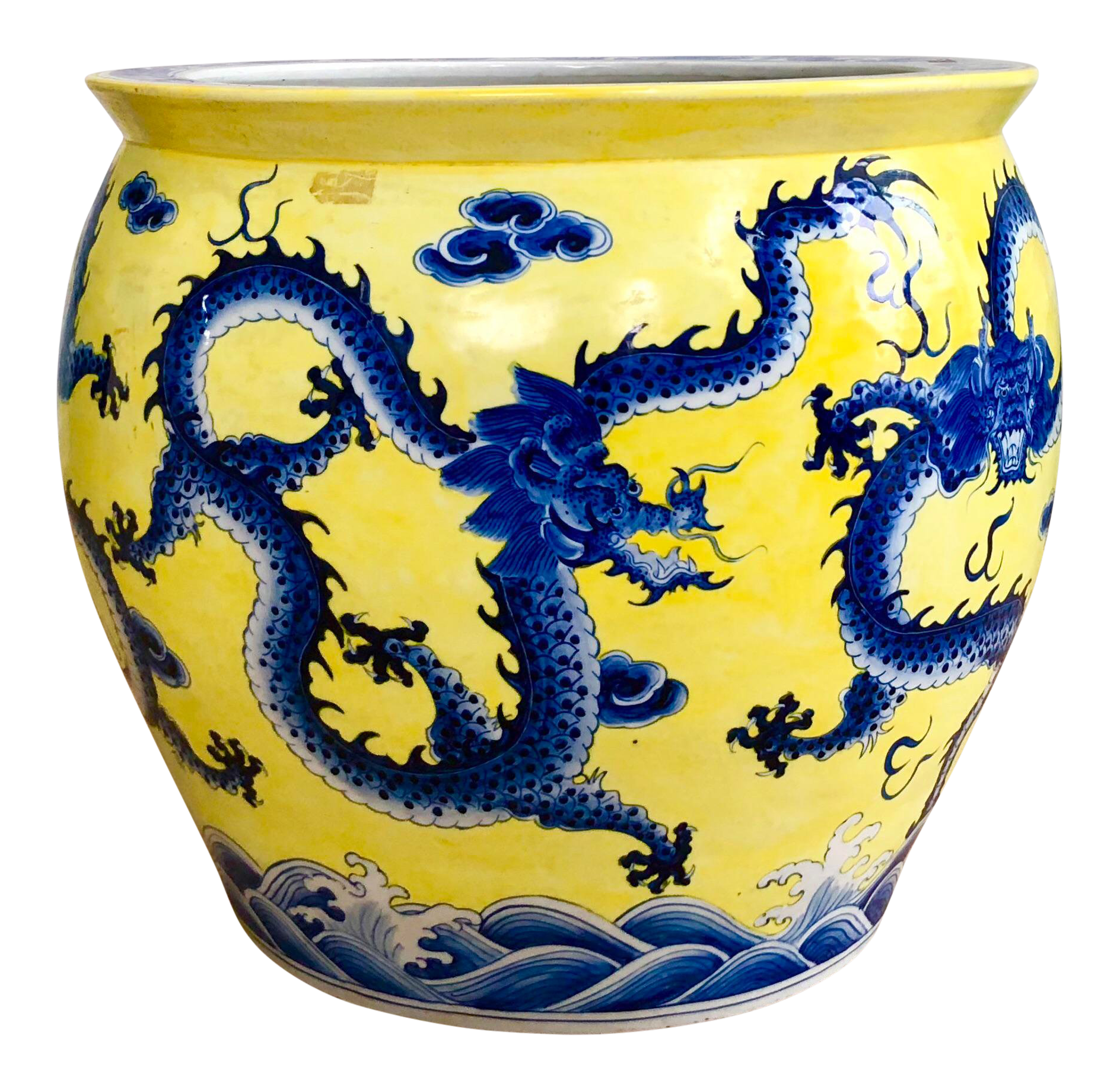 Extra Large Chinoiserie Dragon Motif Yellow And Blue Ceramic