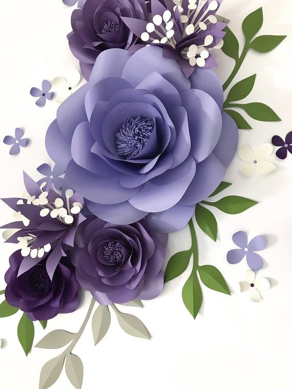 Paper Flower Arrangement over the Crib - Purple Paper Flowers - Lavender Nursery Wall Decor - Nursery Paper Flower Wall Decor (code:#175)