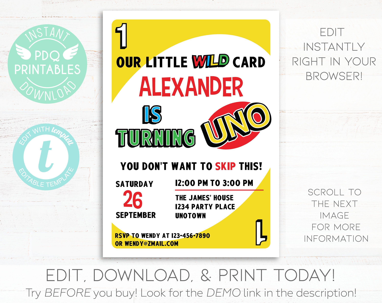 Uno Card Game Invitation Uno Invitation Uno First Birthday