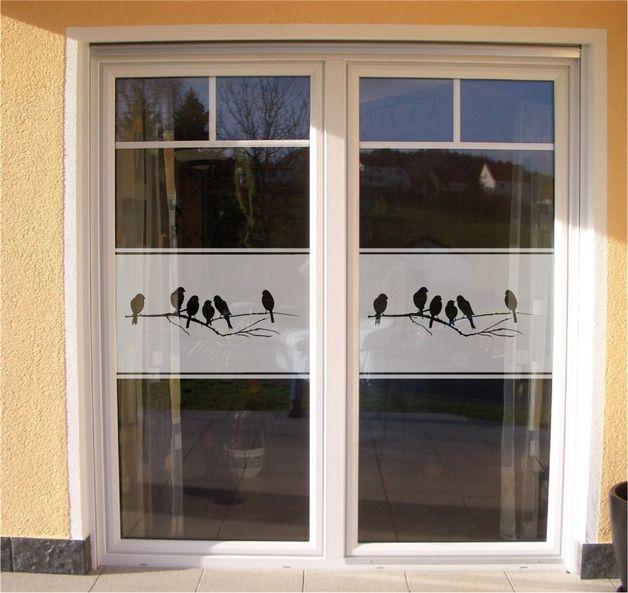 Glasfolie Fenster Sichtschutz Vogelzweig