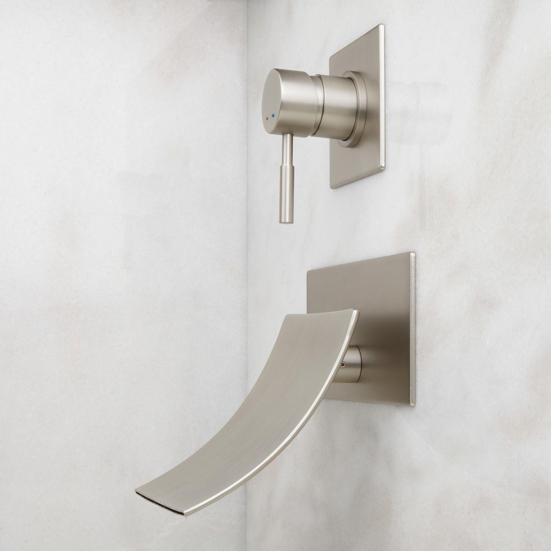 reston wallmount waterfall tub faucet wall mounted tub faucets tub faucets