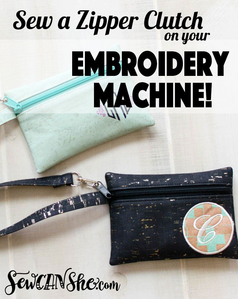 65013a90ed43 Sew an In-The-Hoop Zipper Clutch on your Embroidery Machine!  video ...
