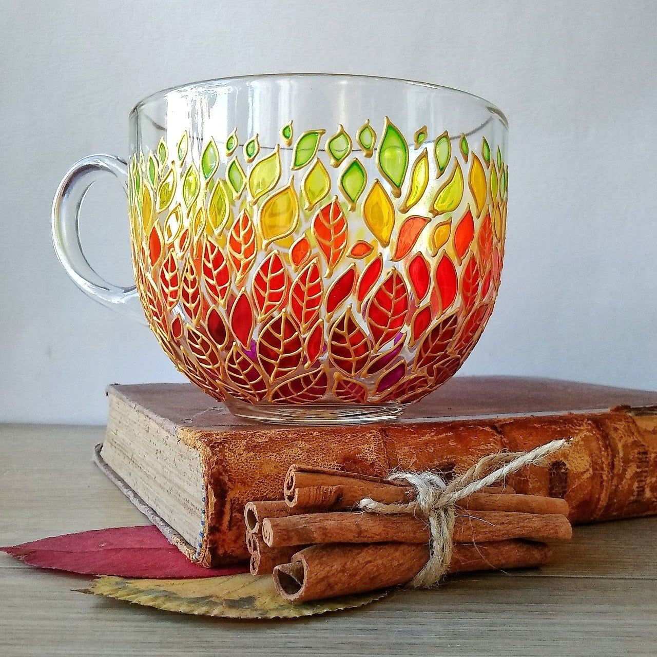 Fall leaf big painted mug gift for nature lover etsy in