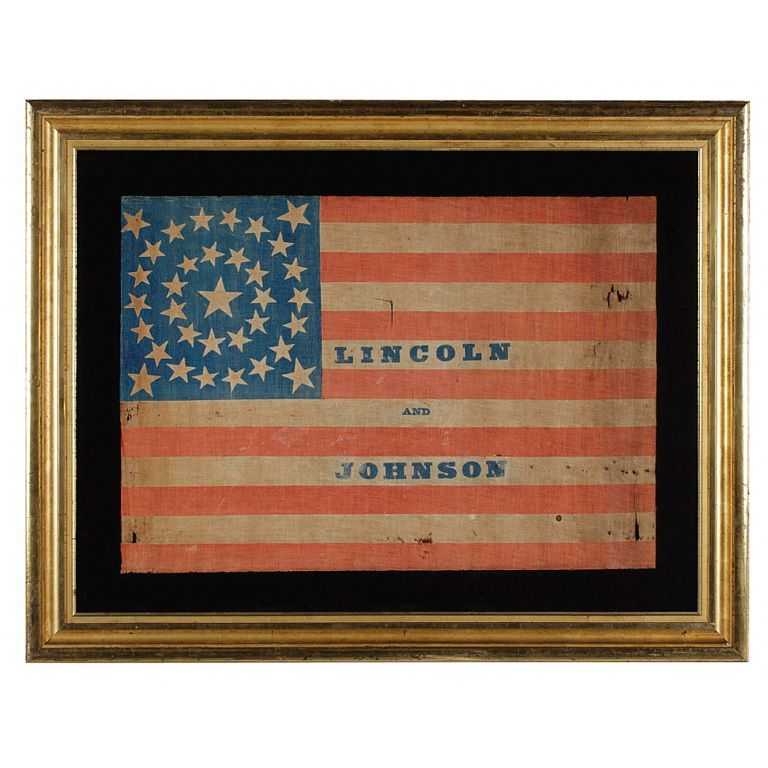 34 Star Flag Made For Abraham Lincoln Andrew Johnson Campaign 1stdibs Com Vintage Political Old Glory Flag Civil War Flags
