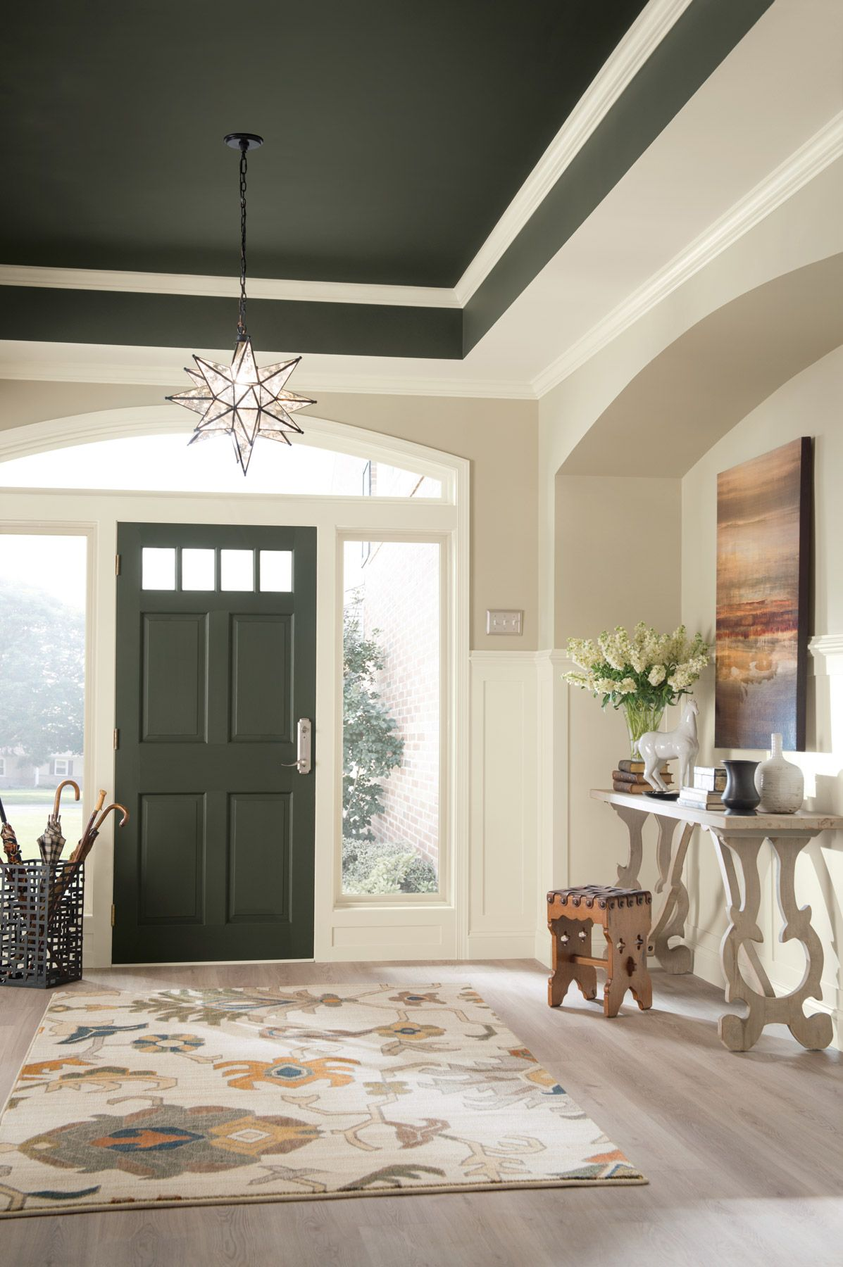 5 Inspiring Entryway Ideas That Make A Good First Impression Colored Ceiling Foyer Colors Ceiling Paint Colors