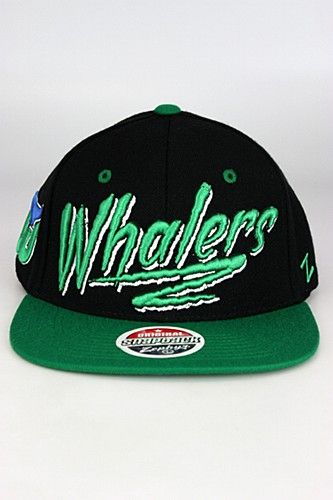 Zephyr Razzle Hartford Whalers Snapback Hat Black - Green - White