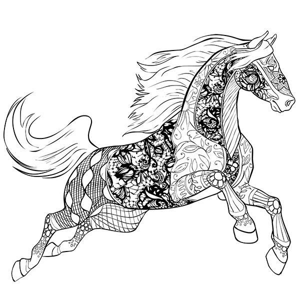 Распечатать бесплатные раскраски антистресс Лошади в ...
