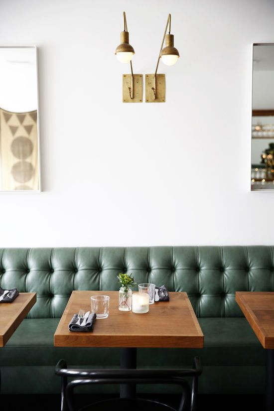 Interiors Decor Brass Lamp Green Tufted Booth Restaurant Dining