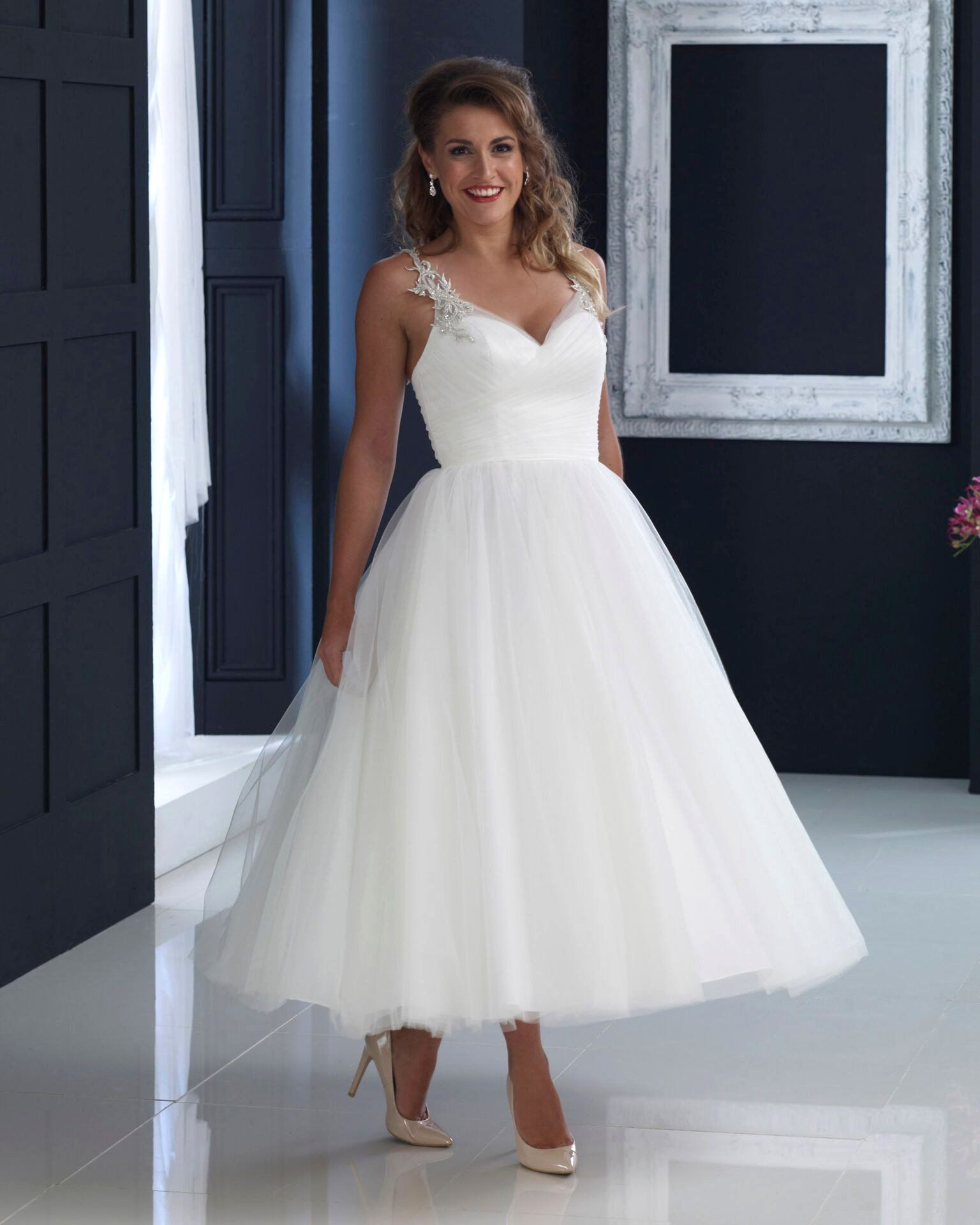 Hn Erin Satin And Tulle Tea Length Wedding Gown With Full Skirt