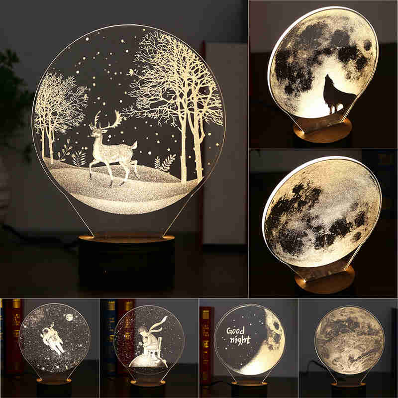 3d Led Moon Lamp Night Lights Usb Christmas Atmosphere Desk Lamps Moon Usky Led 3d Led Night Light Led Night Light Night Light