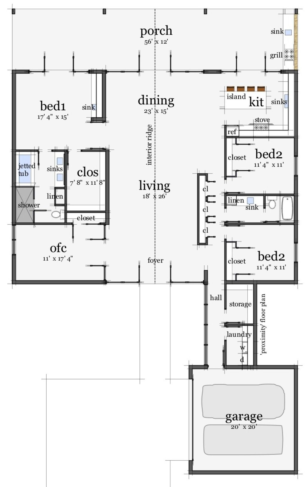 Houseplans Modern Main Floor Plan Plan 64 172 4 2