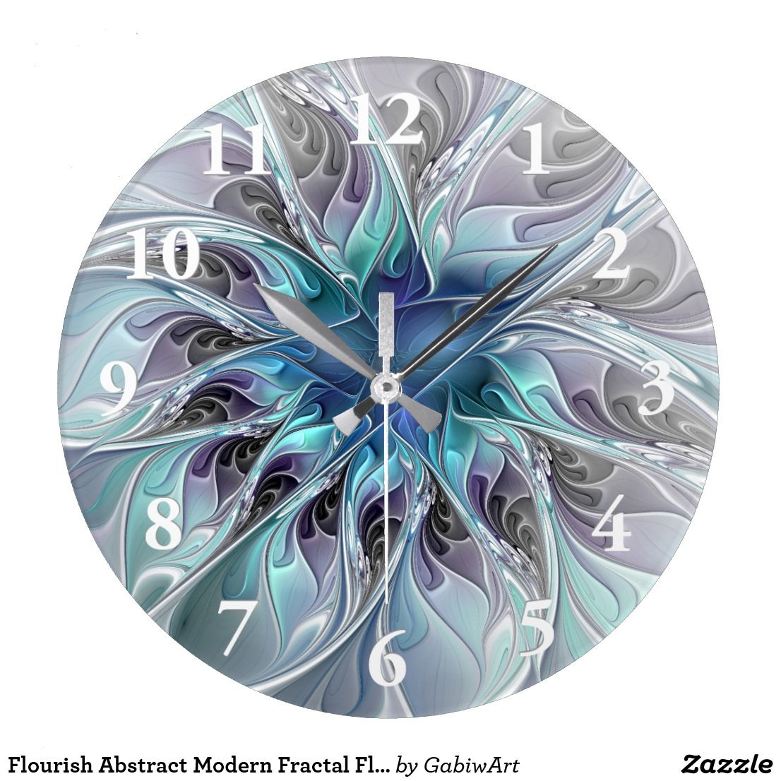 Flourish abstract modern fractal flower with blue large clock