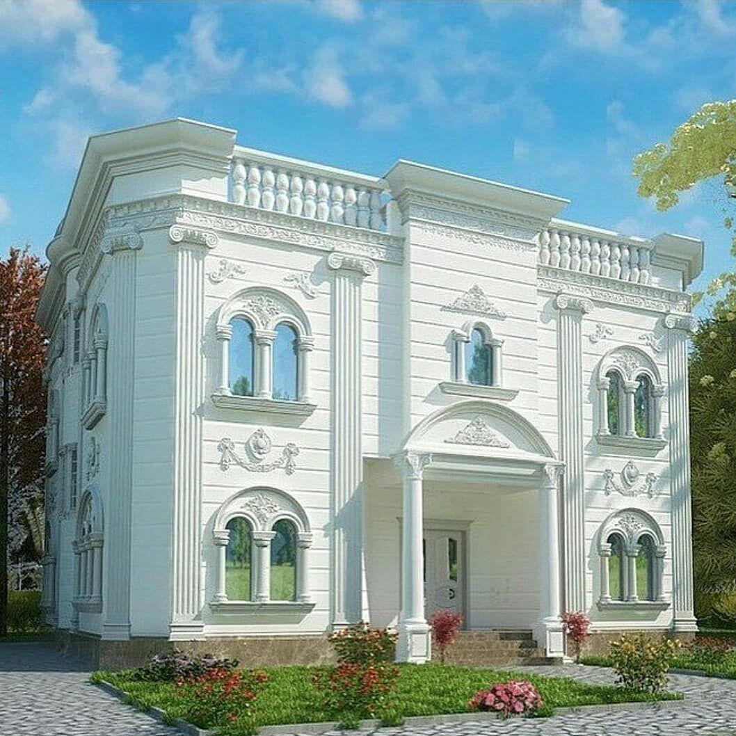 رشیو طراحی بسیار زیبا نماکلاسیک سیمانی لاکچر Casas Fachadas