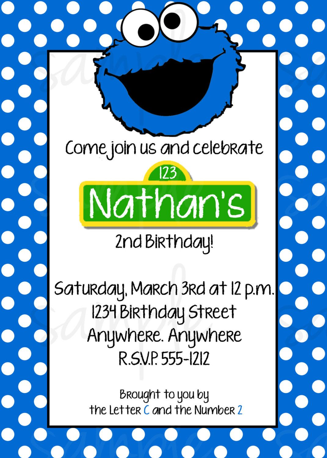 Cookie Monster Birthday Invitation by LoveLifeInvites on Etsy ...