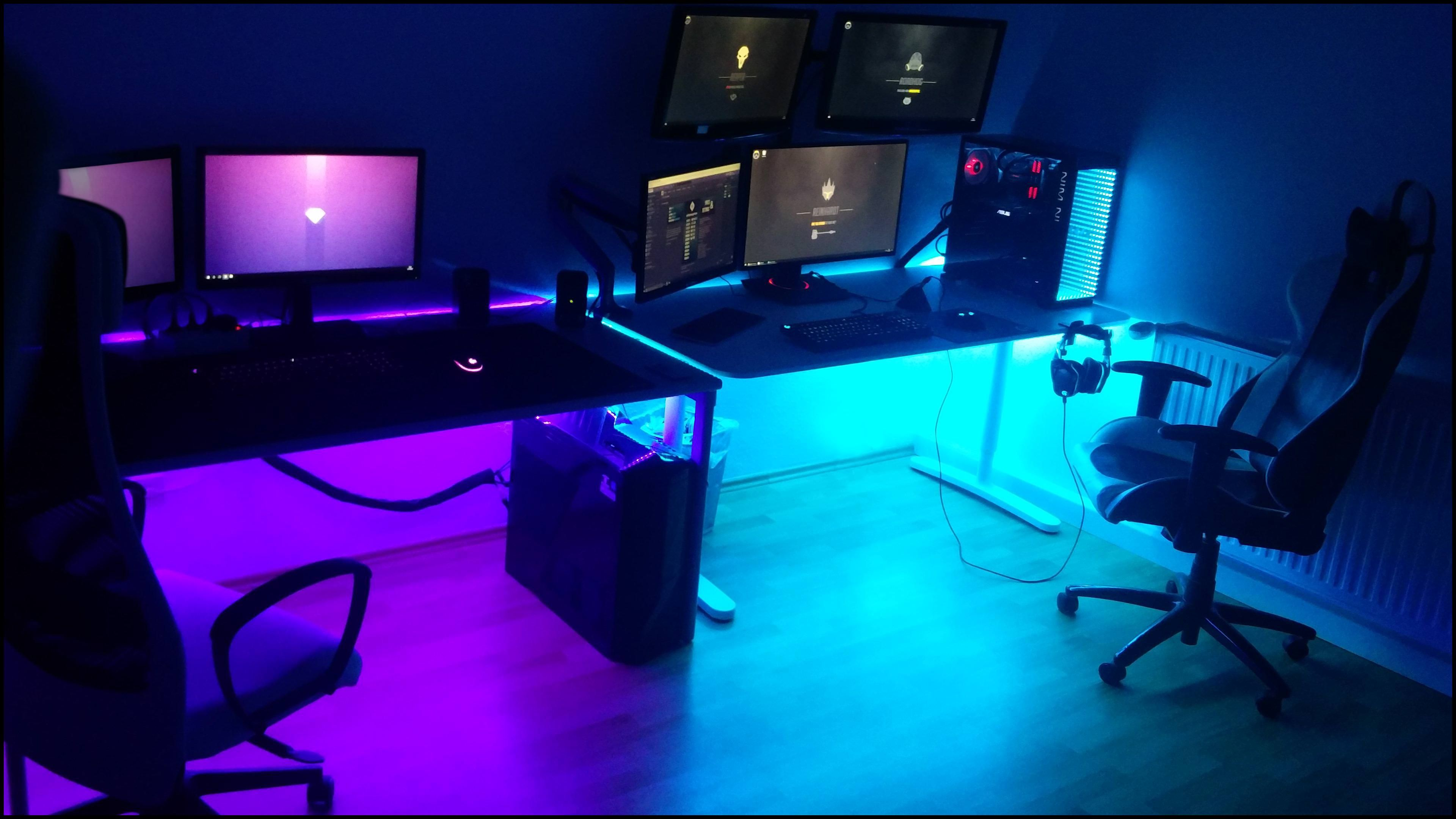 For Her Him Finally Moved Out And Dropped My Battlestation At My New Home Gaming Room Setup Interior Design Games Game Room Design
