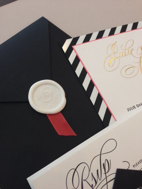 White #waxseal on Black envelope and red ribbon by Paperista.