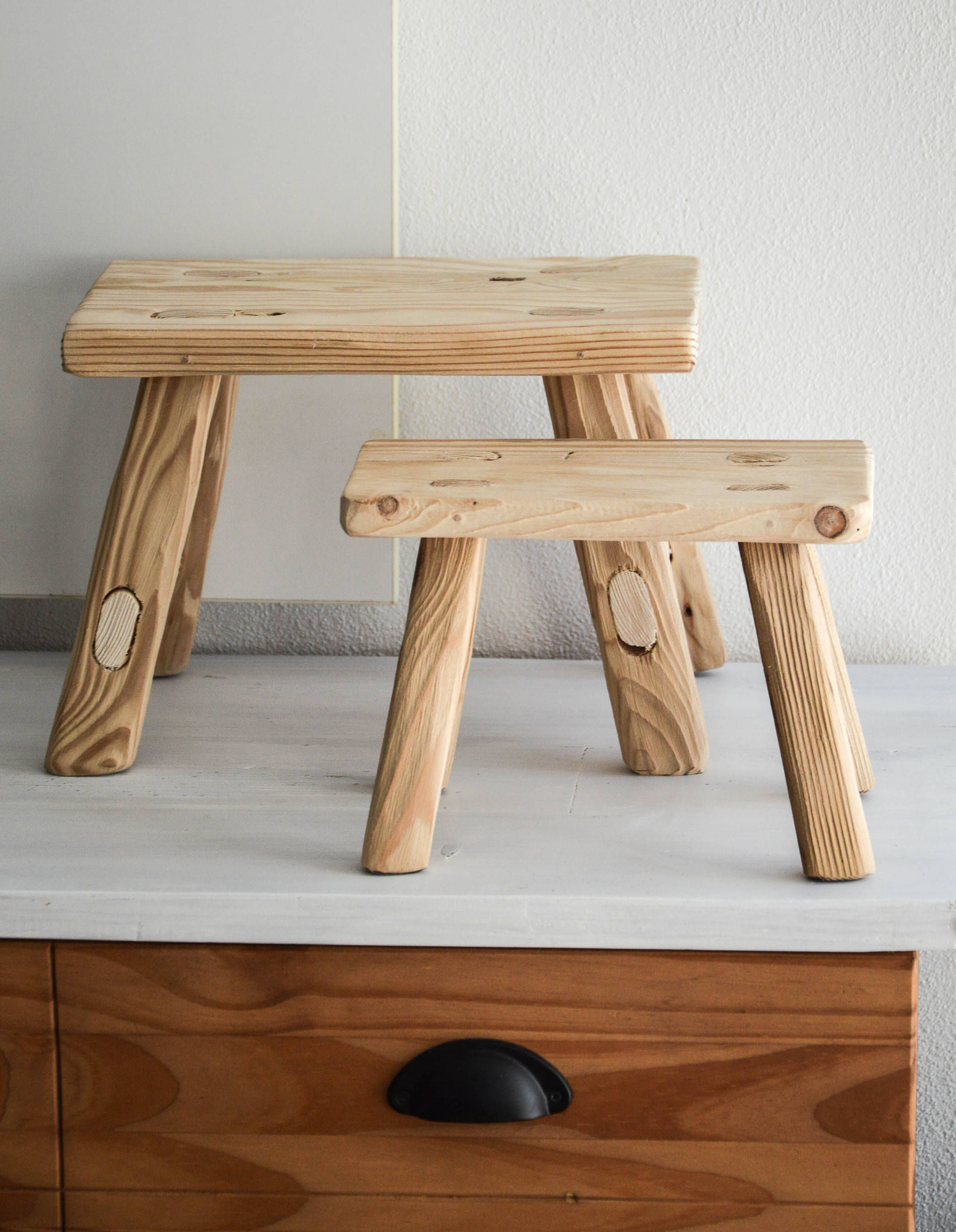 Handmade Wooden Stool Milking Spruce Barn Wood Bathroom Furniture