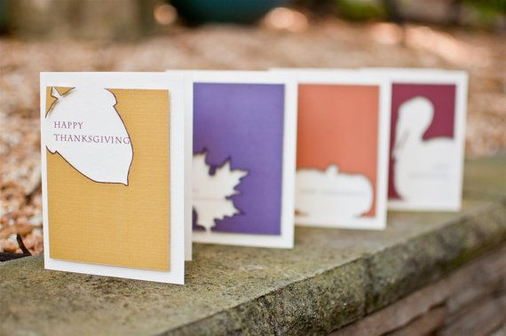 Thanksgiving Shapes Silhouette Cards - Happy Thanksgiving card set of 4 by Highly Addictive Design. $18.00, via Etsy.
