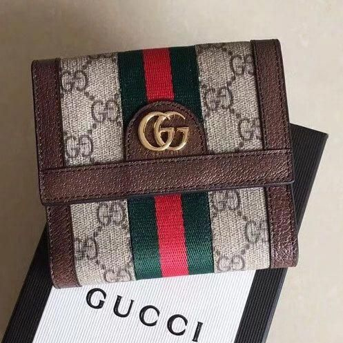 727a96258556 Gucci Ophidia GG French Flap Wallet 523173 Brown 2018 #Guccihandbags ...