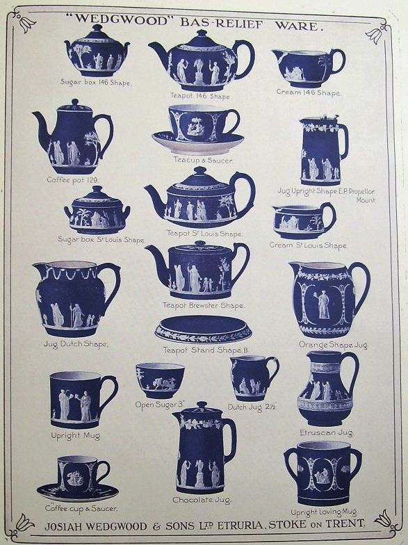 Wedgwood Bas Relief Ware Blue And White Porcelain And