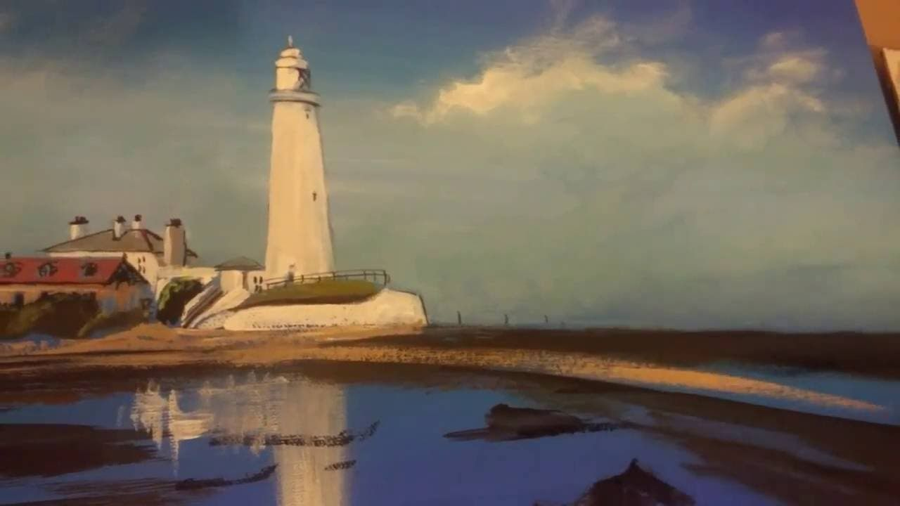 Pete Rumney Art Painting A Lighthouse Whitley Bay St Marys