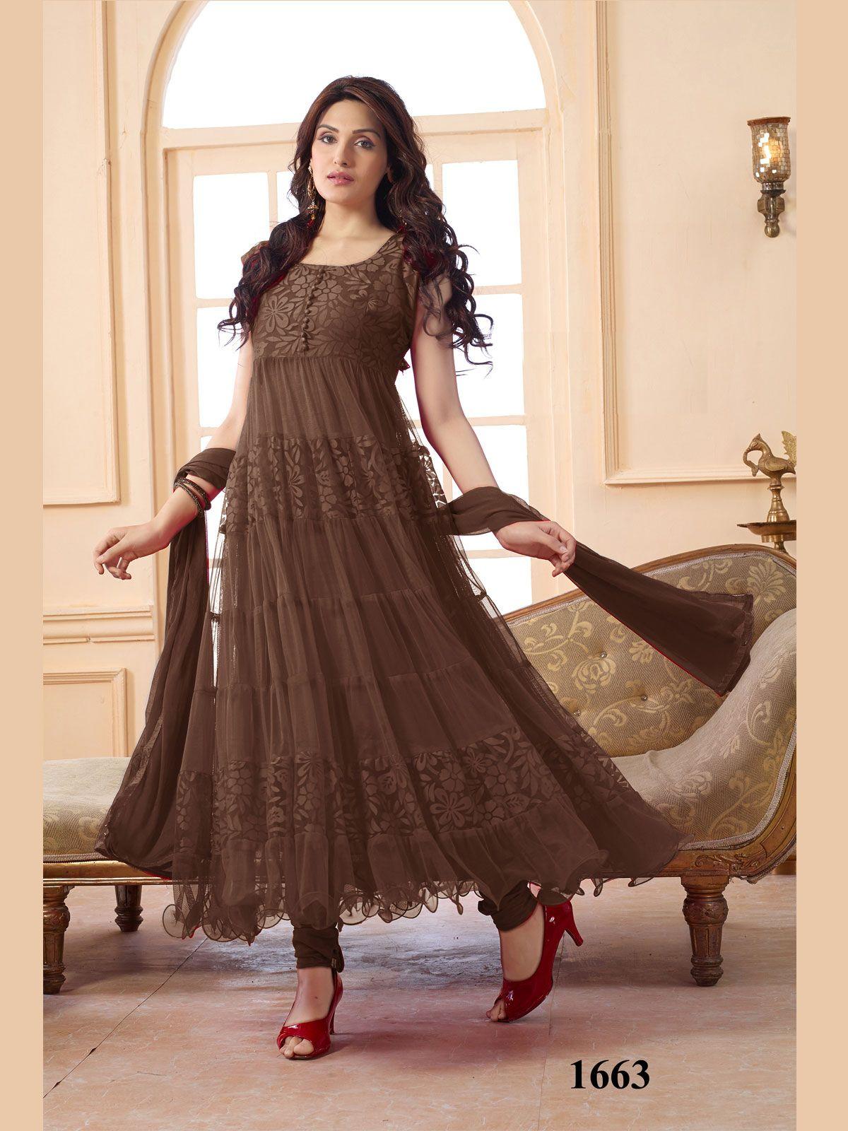 5b3d6f17d2b Khantil New Collection In Designer Dark Brown Anarkali Suits Buy Online  Rs. 799 - Contact us on 8487944854