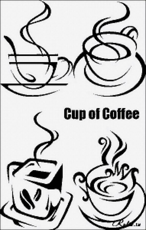 Схемы вышивки кофе на кухню