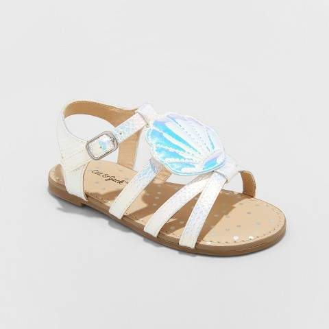 7b2c9ca13ef452 Cat   Jack Toddler Girls  Gada Shell Metallic Iridescent Sandals ...