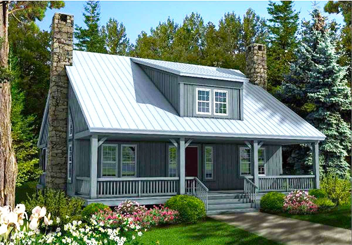 Big Rear and Front Porches Rustic house plans