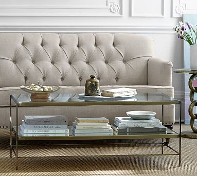 Leona Metal Rectangular Coffee Table Brass
