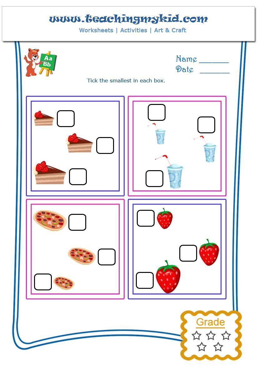 Kindergarten learning free printable worksheets tick the kindergarten learning free printable worksheets tick the smallest worksheet 2 robcynllc Images