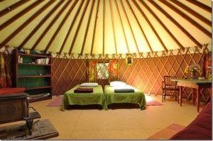 Cozy Yurt Interior At Singing Earth Farm In Boulder Ut