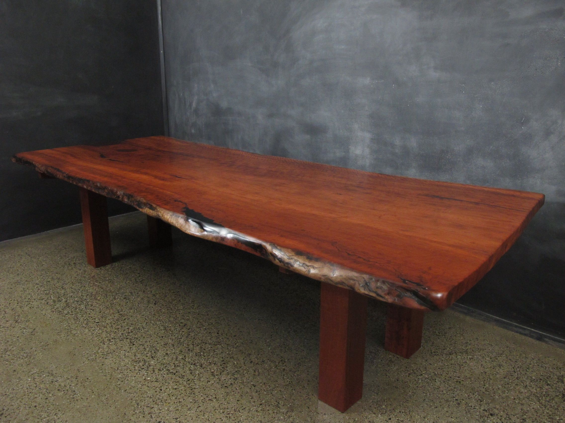 Natural Edge Red Gum Slab Top Dining Table