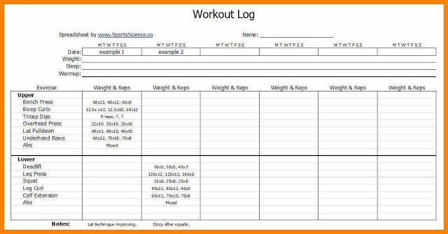 free printable exercise log