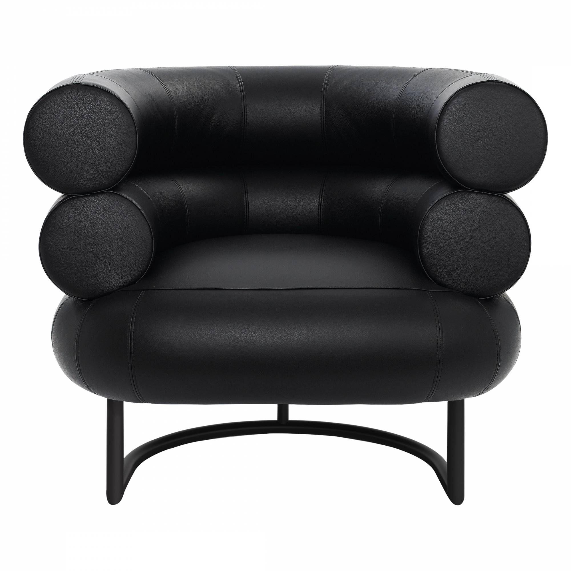 Bibendum Black leather armchair, Armchair, Eileen gray
