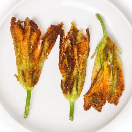 Ricotta-Stuffed Squash Blossoms Recipe – filling includes mozzarella and chives