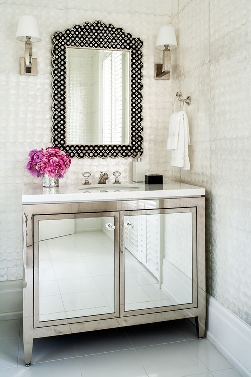 Metallic Bathroom Vanity With Mirrored Door Fronts Love That Mirror Too Mirrored Cabinet Doors Bathroom Vanity Designs Bathroom Design Inspiration