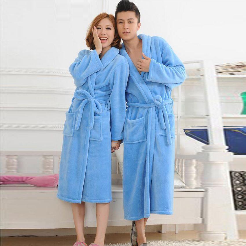 Bath Robe Female Male Lovers Coral Fleece Bathrobes For Women Men Night  Gown Sleepwear Kimono Lounges 551c4d156
