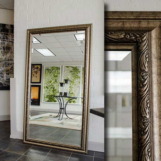 A large floor mirror with a satin gold and silver frame i for Gold frame floor mirror