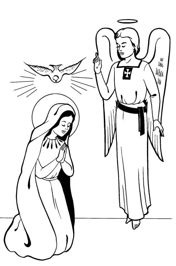 Annunciation With Angel Gabriel Saints Day Coloring Page | Drawing ...