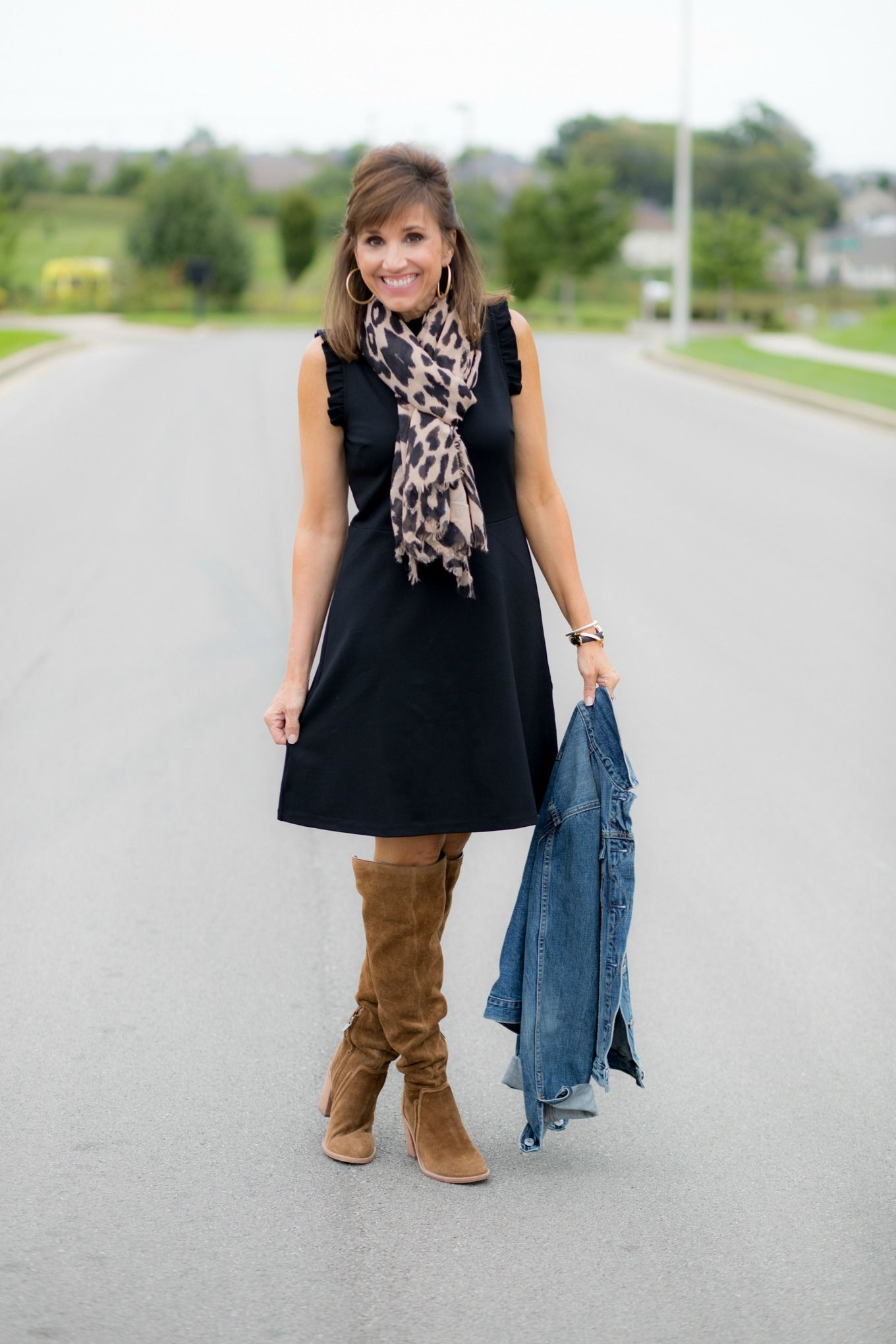 How To Style A Sleeveless Black Dress For Fall Cyndi Spivey Black Swing Dress Outfit Swing Dresses Outfit Fashion [ 2040 x 1360 Pixel ]