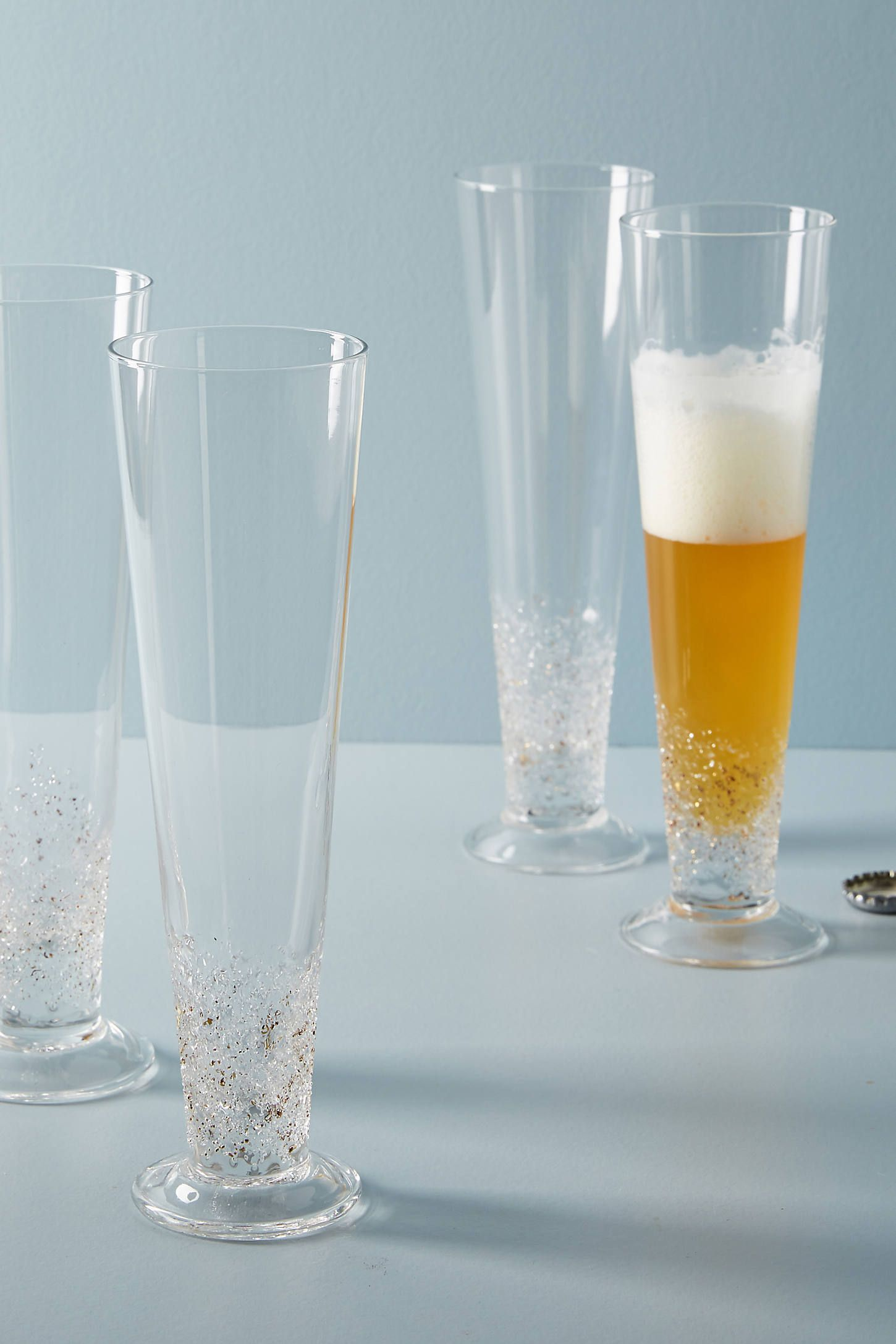 Volcania Flutes Set Of 4 Stemless Wine Glasses Beer