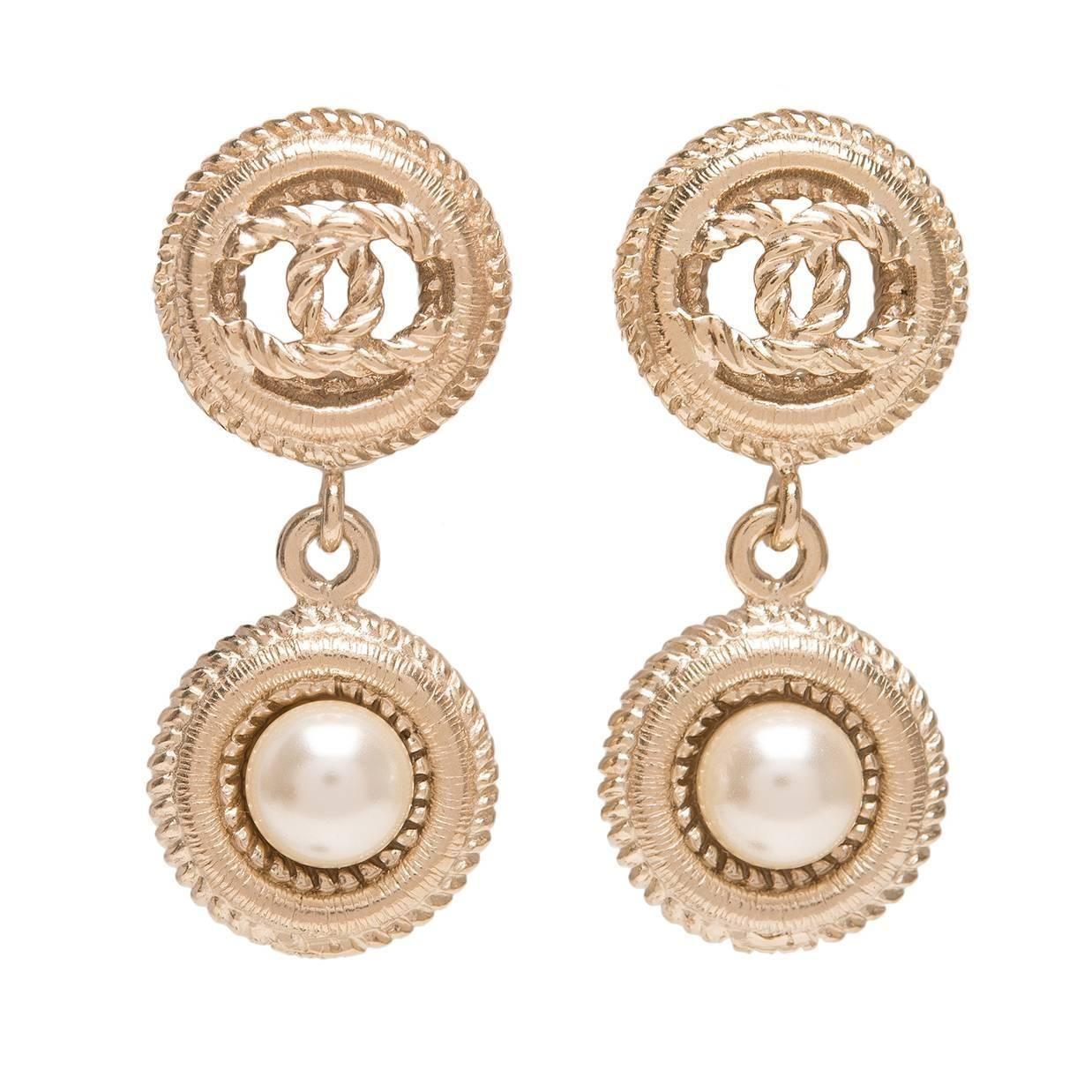 Chanel Light Gold Logo And Pearl Drop Pierced Earrings