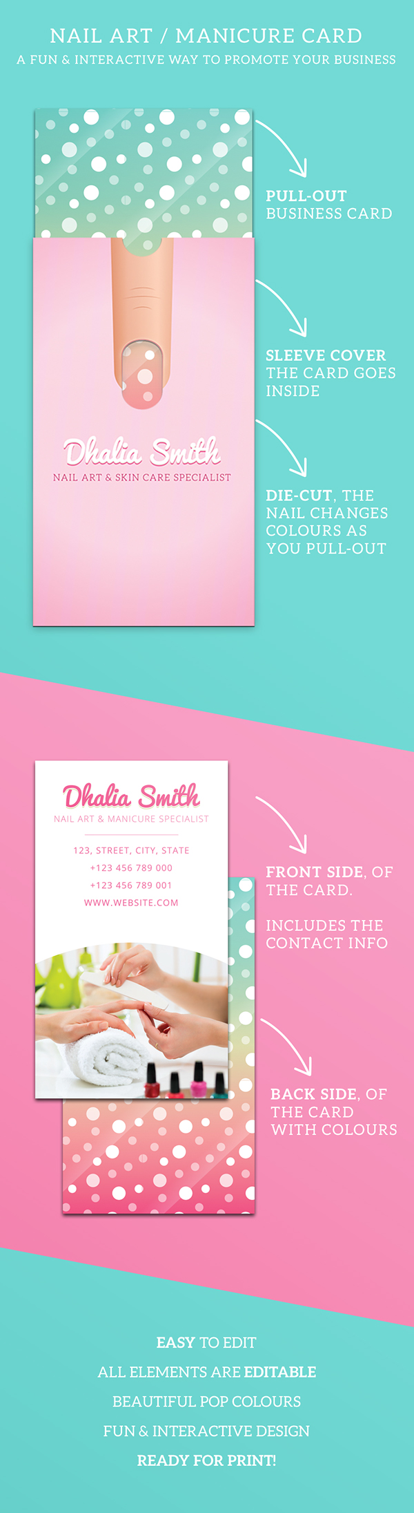 Nail Art/Manicure Business Card with Sleeve by Emilios, via ...