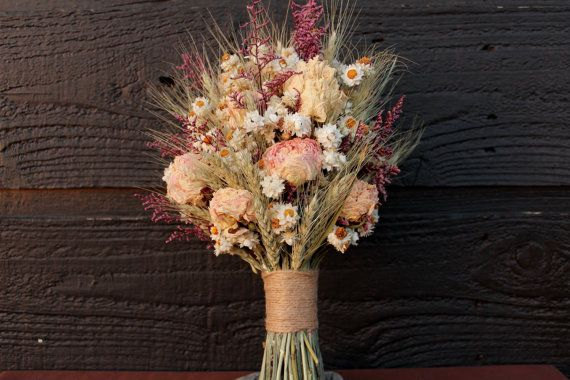 Rustic Farmhouse Medium Wedding Bouquet, Bridal Bouquet, Shabby Chic, Dried Flower Bouquet, Blush Peony Bouquet with Wheat and Wild Flowers #weddingbridesmaidbouquets