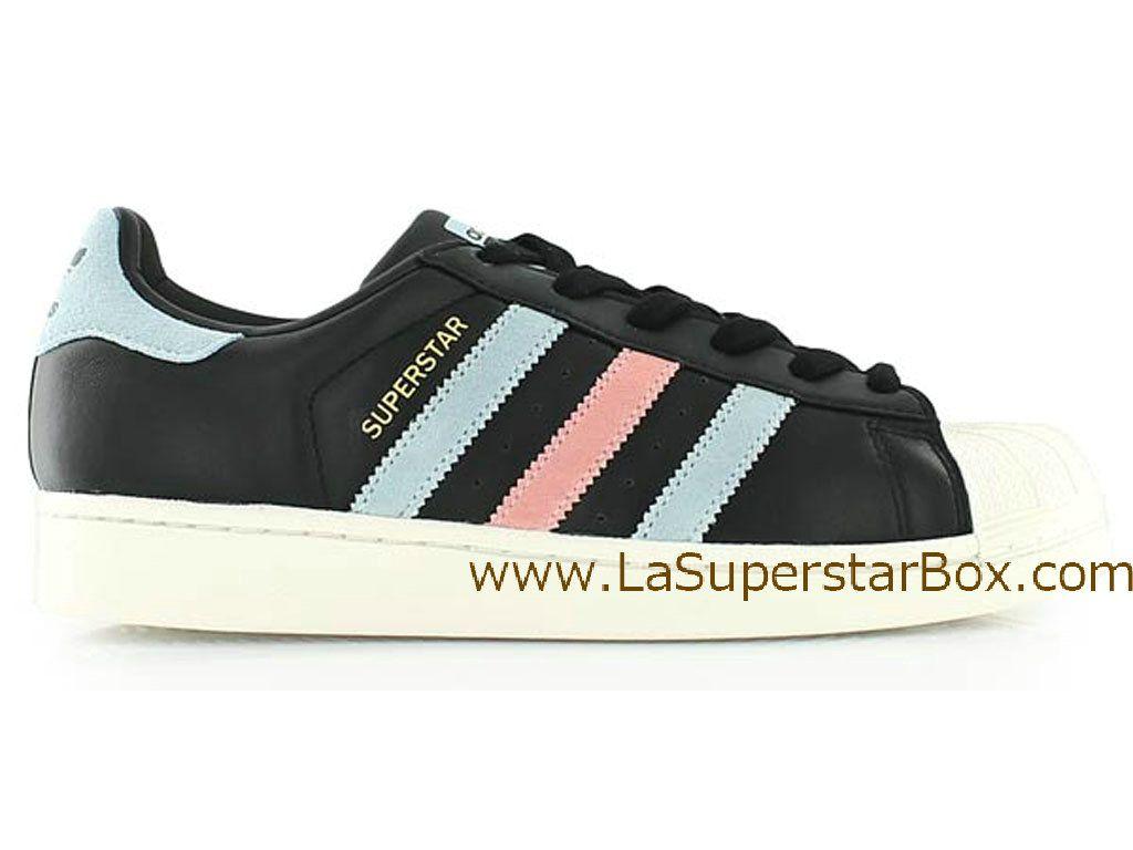 best service 64340 981bb Adidas Originals Chaussures Homme Femme Superstar 80s Noir Rose-Distributeur  Officiel de la