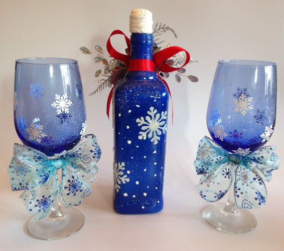 Christmas Blues/ Set of Two Blue Wine Glass and by RosBelTreasures