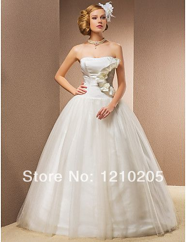 Free Shipping Ball Gown Floor-length Taffeta And Tulle Wedding Dress With Removable Straps, Flower(s), Ruffles, Beading  1441437 $499.99