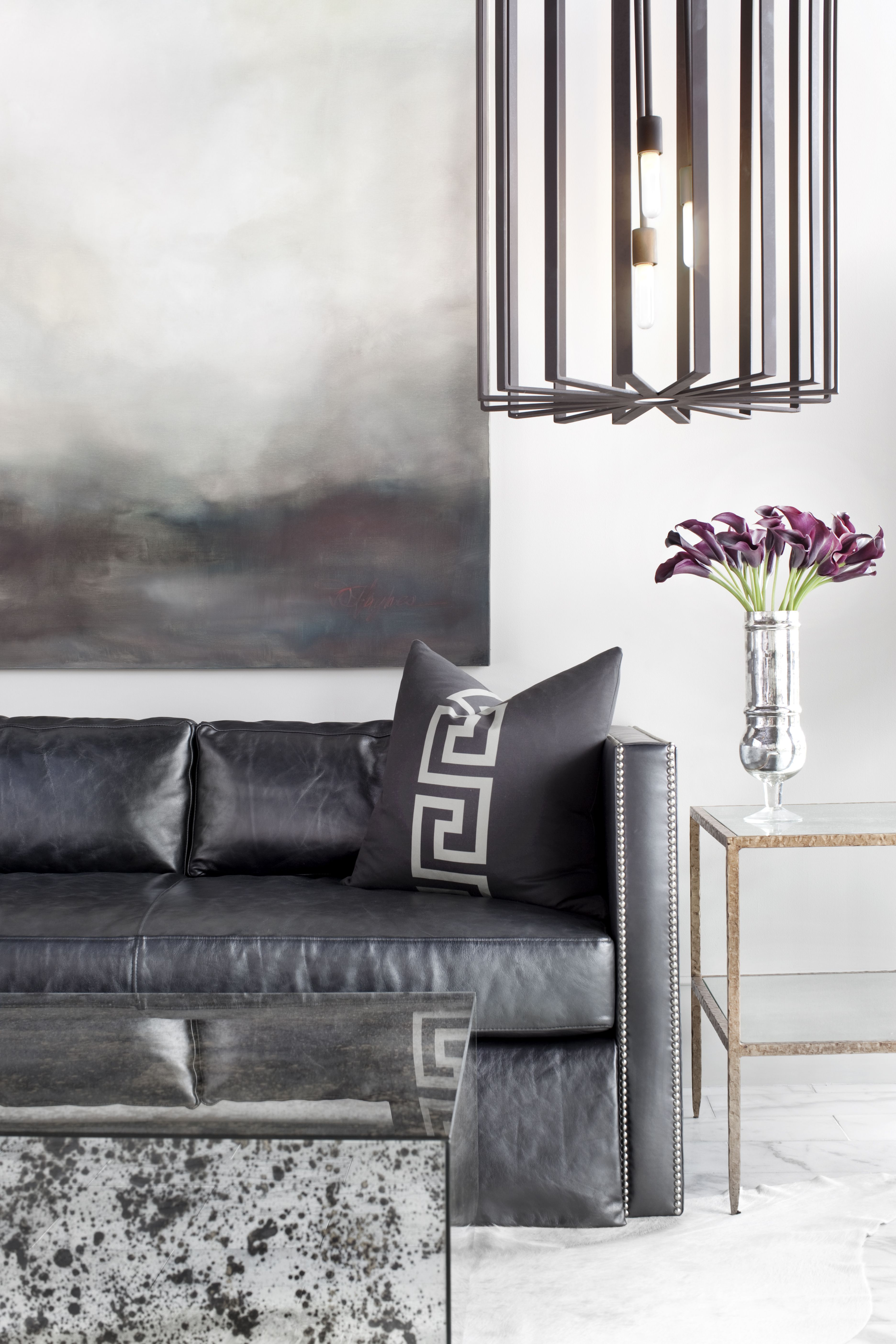 Bradley Hughes designs. Cool grey with abstract landscape for just a touch of warm tones.