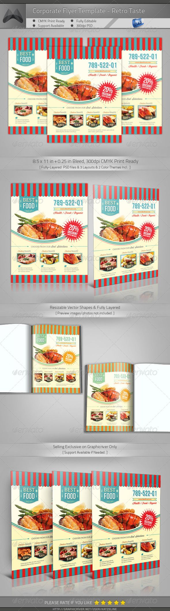 Retro Taste FoodRestaurant Flyer  Taste Food Flyer Template And